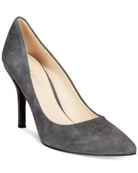 Nine West | Gray Flax Suede Pointed Toe Pumps | Lyst