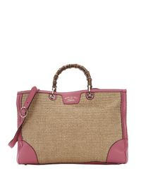 Gucci - Pink Leather And Straw Bamboo Accent Convertible Shopper Tote - Lyst