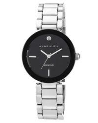 Anne Klein - Black Diamond Marker Mirror Bezel Bracelet Watch - Lyst