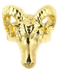 Black Scale | Metallic Gold Ram Head Ring for Men | Lyst