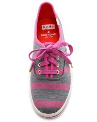 kate spade new york - Pink Keds For Kate Spade Kick Striped Sneakers - Metropolis Green - Lyst