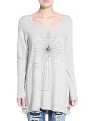 Project Social T | Gray 'earth Arrow' Oversize Sweatshirt | Lyst