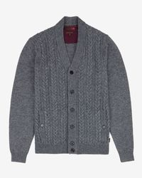 Ted Baker - Gray Deluxe Cashmere-blend Cardigan for Men - Lyst