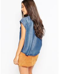 Mango | Blue Sleeveless Denim Shirt | Lyst