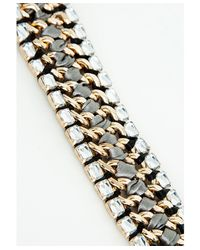 Missguided - Metallic Hazel Crystal Detail Woven Bracelet Gold - Lyst