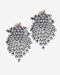 Kenneth Jay Lane | Metallic Swarovski Crystal Clip Earrings | Lyst