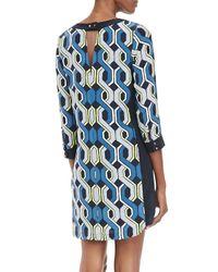 Trina Turk | Blue Darci Long-Sleeve Shift Dress | Lyst