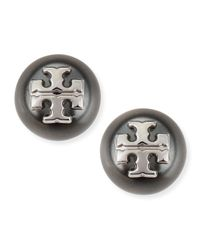 Tory Burch | Gray Evie Pearly Logo Stud Earrings | Lyst