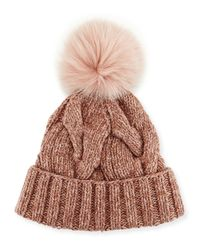 Loro Piana | Red Cable-knit Fur Pom-pom Hat | Lyst