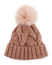 Loro Piana | Red Cable-knit Fur Pom-pom Hat | Lyst