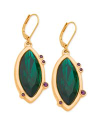 T Tahari | 14k Goldplated Green Stone Navette Drop Earrings | Lyst