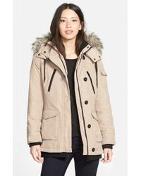 Bernardo | Brown 'expedition' Faux Fur Trim Hooded Duffle Coat | Lyst
