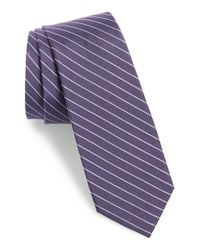 Calibrate | Purple 'isabela Stripe' Silk & Cotton Tie for Men | Lyst