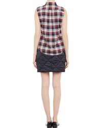 Harvey Faircloth - Blue Diamond-Quilted Satin Mini Skirt - Lyst