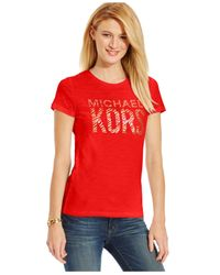 Michael Kors | Red Michael Metallic Zebra-print Logo T-shirt | Lyst