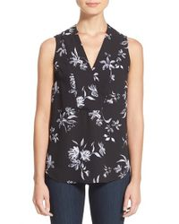 Halogen | Multicolor Notch Detail Sleeveless Blouse | Lyst