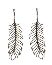 Rosa De La Cruz | Black 18k Gold And Diamond Feather Earrings | Lyst