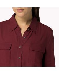 Tommy Hilfiger - Red Cotton Viscose Long Sleeve Shirt - Lyst