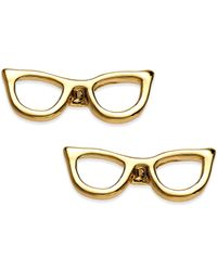 Kate Spade | Metallic 14K Gold-Plated Glasses Stud Earrings | Lyst