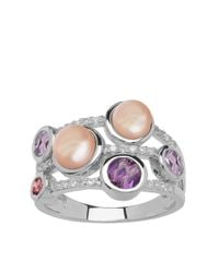 Lord & Taylor | White Sterling Silver Fresh Water Pearl Diamond Ring With Amethyst And Pink Tourmaline | Lyst