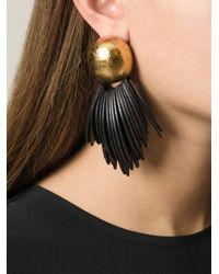 Monies - Brown Wood Slats Clip-On Earrings - Lyst