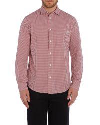 Armani Jeans - Red Regular Fit Pocket Logo Gingham Shirt for Men - Lyst