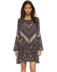 Free People | Blue From Your Heart Print Dress - Midnight Combo | Lyst