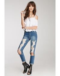 Forever 21   White Lace-trimmed Off-the-shoulder Top   Lyst
