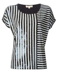 MICHAEL Michael Kors | Blue Striped Sequin Top | Lyst
