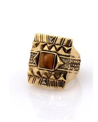 House of Harlow 1960 - Metallic Cushion Cocktail Ring With Tiger's Eye - Lyst