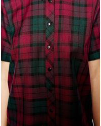 ASOS   Red Shirt with Boxy Sleeve in Tartan Check   Lyst