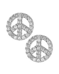 Betsey Johnson | Metallic Silvertone Crystal Peace Sign Stud Earrings | Lyst