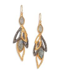 Alexis Bittar | Metallic Elements Phoenix Labradorite & Crystal Dangling Leaf Earrings | Lyst