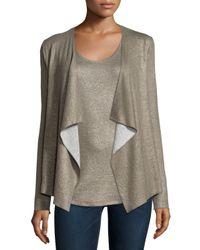 Neiman Marcus | Cotton/cashmere Double-face Metallic Cardigan | Lyst