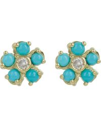Jennifer Meyer - Multicolor Turquoise Flower Diamond Stud Earrings - Lyst
