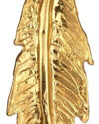 Leivan Kash | Metallic Gold Feather Earrings | Lyst