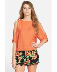 Rip Curl | Orange 'sweet Dreams' Cold Shoulder Shirt | Lyst