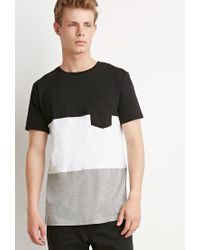Forever 21 | Black Colorblocked Pocket Tee for Men | Lyst