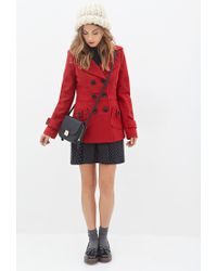 Forever 21 - Red Double-breasted Woven Coat for Men - Lyst