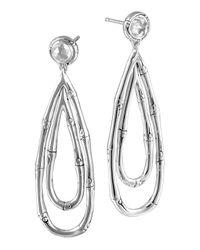 John Hardy | Metallic Bamboo Silver Drop Earrings With White Topaz | Lyst