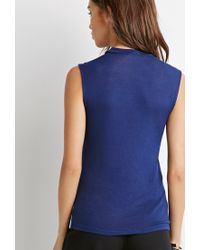 Forever 21 - Blue High Neck Top - Lyst