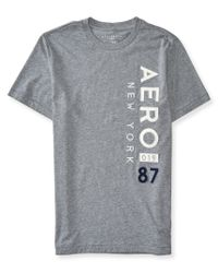 Aéropostale | Gray Vertical Aero New York Logo Graphic T | Lyst