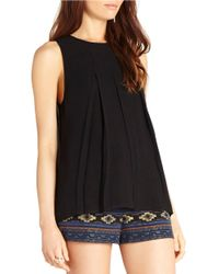 BCBGeneration | Black Sleeveless Pleated Top | Lyst