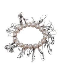 Samira 13 - White Fringe Pearl Bracelet - Lyst