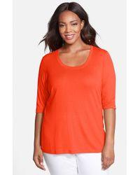 Sejour | Orange Scoop-Neck T-shirt | Lyst