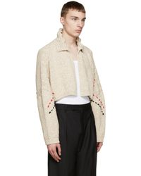 J.W.Anderson - Natural Beige Embroidered Cropped Cardigan for Men - Lyst