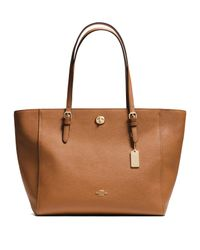COACH | Brown Textured Leather Tote | Lyst