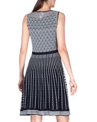 Etro - Black Sleeveless Striped Knit Fit-and-flare Dress - Lyst