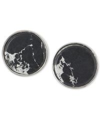 Anne Klein - Silver-tone Black Button Clip-on Earrings - Lyst