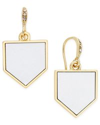 ABS By Allen Schwartz - Metallic Gold-tone Leather Drop Earrings - Lyst